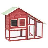 vidaXL Rabbit Hutch Red and White 140x63x120 cm Solid Firwood