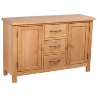 vidaXL Sideboard with 3 Drawers 110x33.5x70 cm Solid Oak Wood
