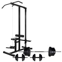 vidaXL Power Tower with Barbell and Dumbbell Set 60.5 kg