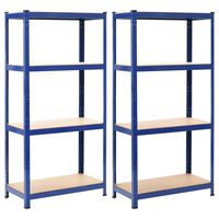 vidaXL Storage Shelves 2 pcs Blue 80x40x160 cm Steel and MDF