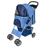 vidaXL Folding Pet Stroller Dog/Cat Travel Carrier Blue