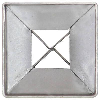 vidaXL Ground Spikes 2 pcs Silver 7x7x75 cm Galvanised Steel,