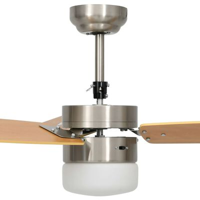 vidaXL Ceiling Fan with Light and Remote Control 108 cm Light Brown
