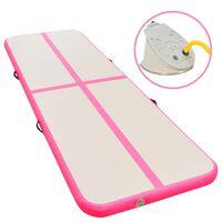 vidaXL Inflatable Gymnastics Mat with Pump 700x100x10 cm PVC Pink