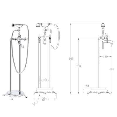 vidaXL Freestanding Bathtub Faucet Stainless Steel 99.5 cm Silver