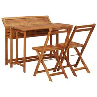 vidaXL Balcony Planter Table with 2 Bistro Chairs Solid Acacia Wood