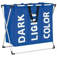 vidaXL 3-Section Laundry Sorter Blue