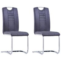 vidaXL Cantilever Dining Chairs 2 pcs Grey Faux Suede Leather