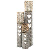 vidaXL Freestanding Candle Lanterns 3 pcs Wicker