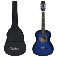"vidaXL Classical Guitar for Beginner with Bag Blue 3/4 36"""