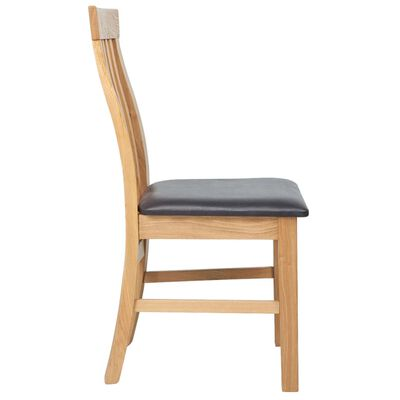vidaXL Dining Chairs 6 pcs Solid Oak Wood and Faux Leather