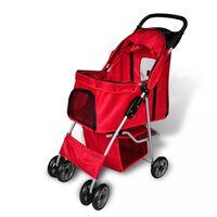 vidaXL Folding Pet Stroller Dog/Cat Travel Carrier Red