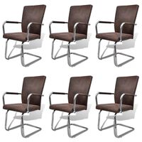 vidaXL Cantilever Dining Chairs 6 pcs Brown Faux Leather
