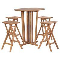 vidaXL 5 Piece Folding Bar Set Solid Teak Wood