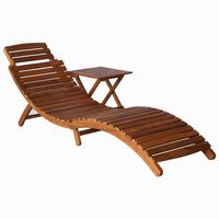 vidaXL Sunlounger with Table Solid Acacia Wood Brown