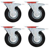 vidaXL Swivel Casters with Double Brakes 4 pcs 125 mm