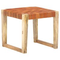 vidaXL Stool Light Brown Real Leather and Solid Mango Wood