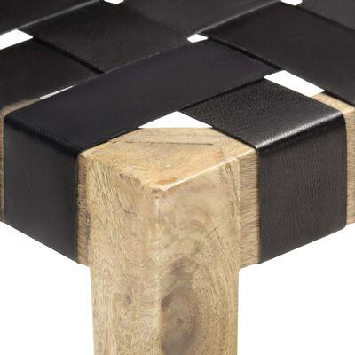 vidaXL Stool Black Real Leather and Solid Mango Wood
