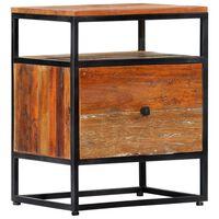 vidaXL Bedside Cabinet 40x30x50 cm Solid Reclaimed Wood and Steel