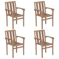 vidaXL Stackable Garden Chairs 4 pcs Solid Teak Wood