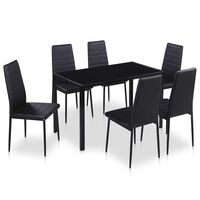 vidaXL 7 Piece Dining Table Set Black