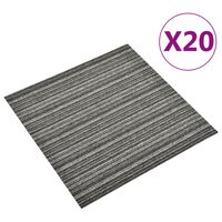 vidaXL Carpet Floor Tiles 20 pcs 5 m² 50x50 cm Striped Anthracite
