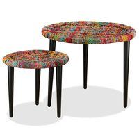 vidaXL Coffee Table Set 2 Pieces Chindi Weave Details Multicolour