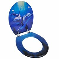 WC Toilet Seat MDF Lid Dolphins