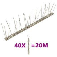 vidaXL 5-row Stainless Steel Bird & Pigeon Spikes Set of 40 20 m
