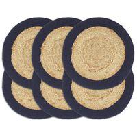 vidaXL Placemats 6 pcs Natural and Navy Blue 38 cm Jute and Cotton