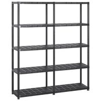 vidaXL Storage Shelf 5-Tier Black 142x38x170 cm Plastic