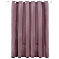 vidaXL Blackout Curtain with Metal Rings Velvet Antique Pink 290x245 cm