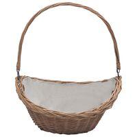 vidaXL Firewood Basket with Handle 57x46.5x52 cm Brown Willow