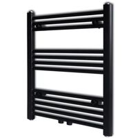 vidaXL Bathroom Heating Towel Rail Radiator Straight 600x764 mm Black