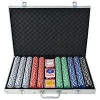 vidaXL Poker Set with 1000 Chips Aluminium