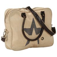vidaXL Hand Bag Beige 40x54 cm Canvas and Real Leather