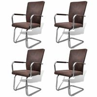 vidaXL Cantilever Dining Chairs 4 pcs Brown Faux Leather