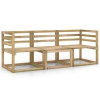 vidaXL 3-Seater Garden Sofa Green Impregnated Pinewood