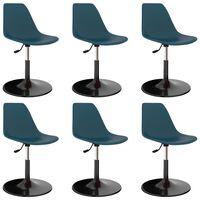 vidaXL Swivel Dining Chairs 6 pcs Turquoise PP