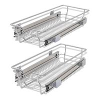 vidaXL Pull-Out Wire Baskets 2 pcs Silver 300 mm