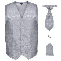 Men's Paisley Wedding Waistcoat Set Size 56 Silver