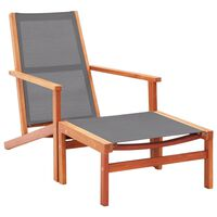 Garden Chair with Footrest Grey Solid Eucalyptus Wood and Textilene
