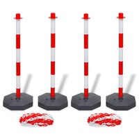 vidaXL Set of 4 Chain Posts and 2 Plastic Chians of 10 m Each
