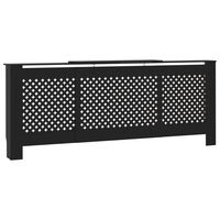 vidaXL MDF Radiator Cover Black 205 cm