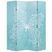 vidaXL Folding Room Divider 160x170 cm Butterfly Blue
