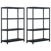 vidaXL Storage Shelf Racks 2 pcs Black 220 kg 90x40x138 cm Plastic
