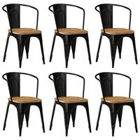 vidaXL Dining Chairs 6 pcs Black Solid Mango Wood