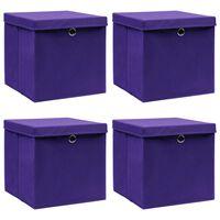 vidaXL Storage Boxes with Lids 4 pcs Purple 32x32x32 cm Fabric