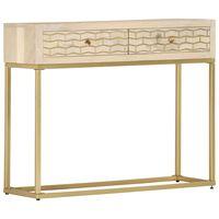 vidaXL Console Table Gold 90x30x75 cm Solid Mango Wood