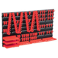 vidaXL 71 Piece Storage Kit with Wall Panels Red and Black